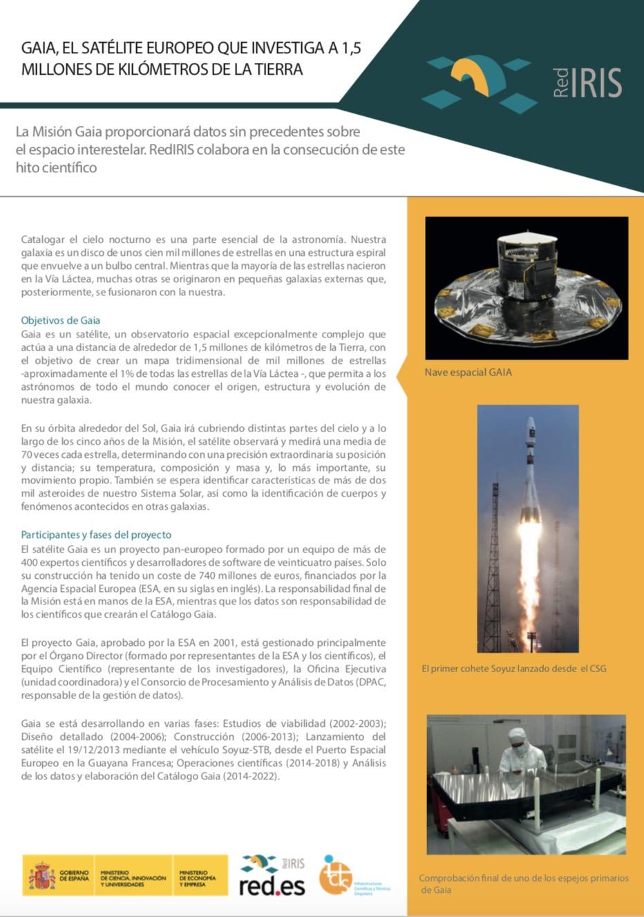 1aa6c47b089 Gaia es un satélite, un observatorio espacial excepcionalmente complejo que  actúa a una distancia de alrededor de 1,5 millones de kilómetros de la  Tierra, ...